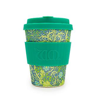 Ecoffee Eco-Friendly 12oz 340ml William Morris Reusable Bamboo Tea & Coffee Cups With Silicone Lid Top For Travel & Home - Various Colours
