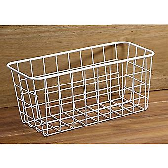 TRIXES Cupboard Door Hanging Storage Tidy Basket White for Kitchen Cups Jars Food Space Saving