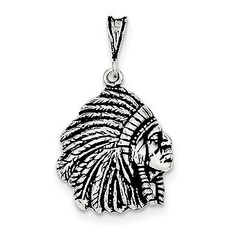 925 Sterling Silver Solid Open back Indian Man Charm Pendant Necklace Jewely Gifts for Women