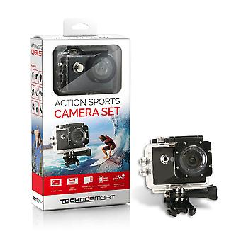 TECHNOSMART Full HD 1080P ActionCam, Waterproof Action Camera, Camera subacquea, Sport Action Camera, con schermo LCD da 2 pollici, batteria a isolo da 900 mAh con kit accessori