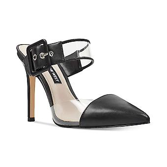Nine West Womens Teagan Leather Pointed Toe Ankle Strap Mules