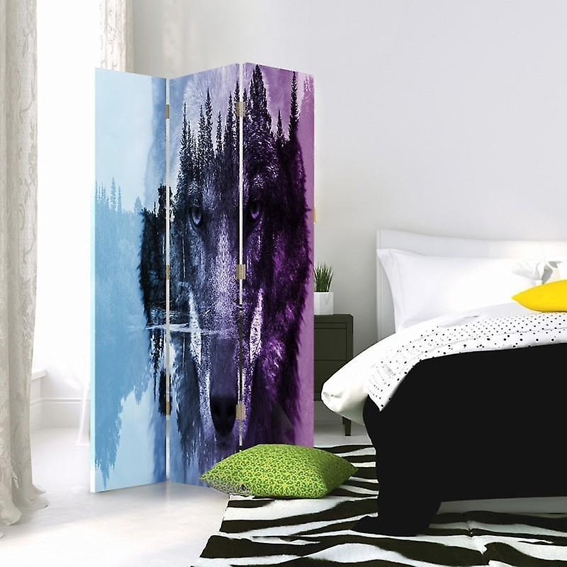 Diviseur de chambre, 3 panneaux, à un seul côté, toile, wolf on The Forest Background - Purple