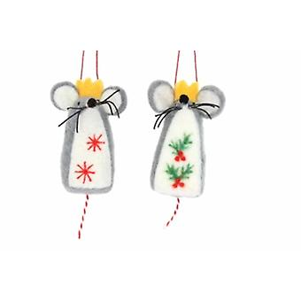 Gisela Graham Pair of Wool Mice Decorations|Gifts From Handpicked