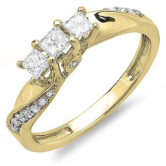 Dazzlingrock Collection 0.50 Carat (ctw) 14k Princess and Round Diamond Ladies 3 Stone Swirl Engagement Bridal Ring 1/2 CT, Yellow Gold