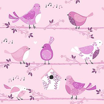 Children's Birds Floral Wallpaper Pink Musical Notes Girls Paste Wall Galerie