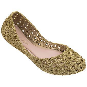 Melissa Women's fashion slip-on ballet flats shoes gold glitter woven rubber