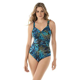 Miraclesuit 6523994-MLT Women's Paradiso Seraphina Blue Multicolour Floral Underwired Shaping Swimsuit