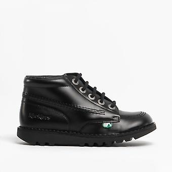 Kickers Kick Hi Kids Leather Boots Black