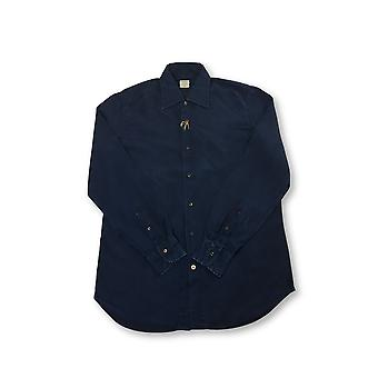 Mazzarelli Green Stone shirt in navy enzyme wash