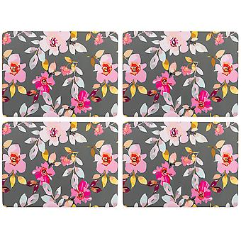 Navigate Gardenia Set of 4 Placemats, Grey Floral