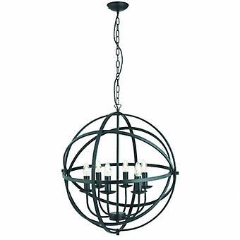 6 Light Spherical Cage Ceiling Pendant Matt Black