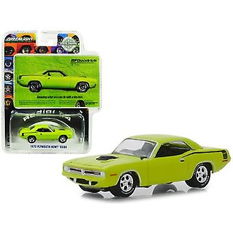 1970 Plymouth HEMI Barracuda Lime Green Amazing What You Can Do With A Tire Iron BFGoodrich Vintage Ad Cars Hobby Exclusive 1/64 Diecast Model Car par Greenlight
