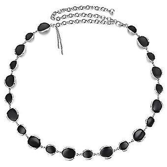 Cinturón de cintura de cadena metálica de plata de 45 pulgadas con diamantes con tachuelas y esmalte negro