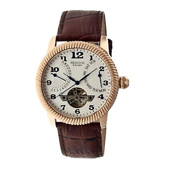 Heritor Automatic Piccard Semi-Skeleton Leather-Band Watch - Rose Gold/Silver