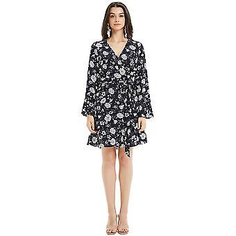 Basic Model Floral Midi Dresses for Women - Wrap V Neck Long Bell Sleeve Ruff...