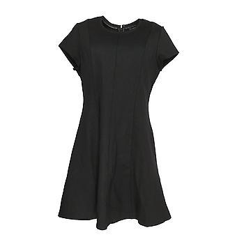 H by Halston Petite Dress Ponte Knit Fit & Flare Black A287149