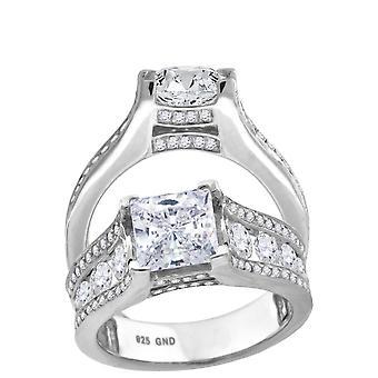925 plata de ley mujeres CZ princesa corte centro piedra novia boda compromiso anillo banda joyería regalos para las mujeres - Ri