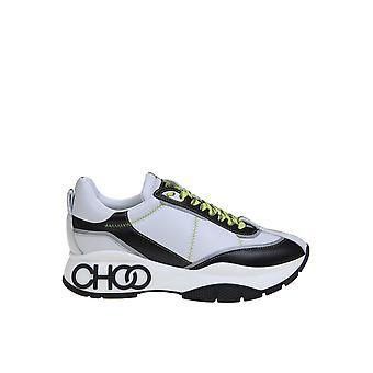Jimmy Choo Raineazrwhite Damen's Weiß/Schwarz Leder Sneakers
