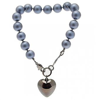 Nour London Large Pearls Silver Puff Heart Necklace