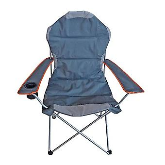 Milestone Deluxe Folding Leisure Steel Camping Chair With Cup Holder Blue