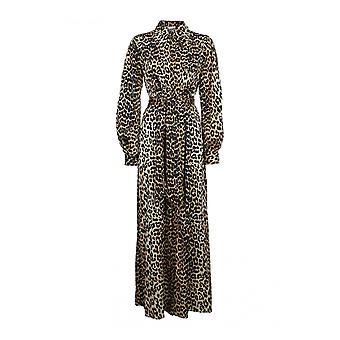 Ganni F4143943 Women's Leopard Silk Dress