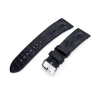 Strapcode αλιγάτοραρολόι ιμάντα 20 mm ή 22 χιλιοστά miltat ιταλικά χειροποίητα hornback αλιγάτορα ματ μαύρο ρολόι λουρί