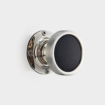 Brass Interior Door Knob - Black Leather