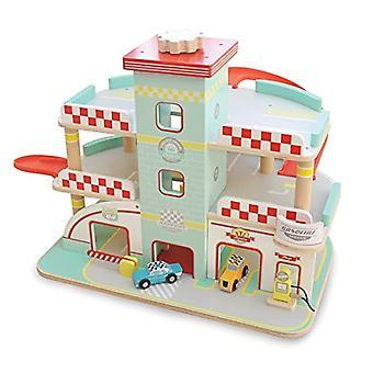 Indigo Jamm Raceway Garage, Retro Design spela fordonet Set på 3 våningar med hiss och ramper och 2 leksaksbilar som ingår