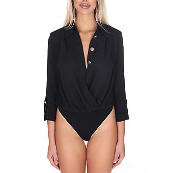 Elisabetta Franchi Cb10501e2110 Women's Black Polyester Bodysuit