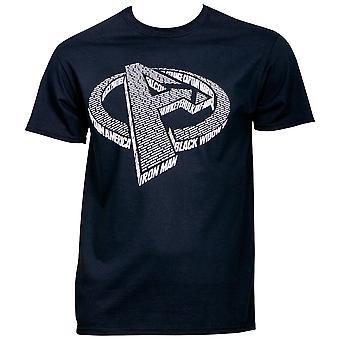 Marvel Avengers Logo Compuesto por Heroes Nombres Camiseta