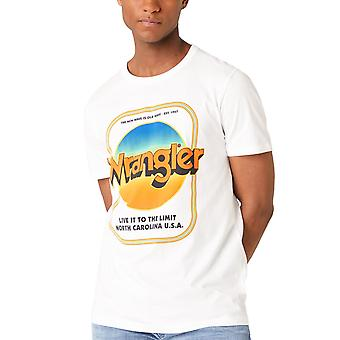 Wrangler Mens SS Good Times Crew Neck Graphic Logo T-Shirt Tee Top - White