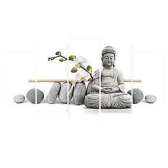 Mural painting, living room bedroom decoration, mural painting, Buddha series frameless five-piece decorative painting