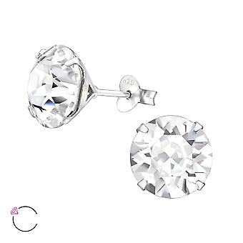 Round With Genuine European Crystal - 925 Sterling Silver Ear Studs - W29478x
