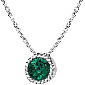 KJ Beckett pode Birthstone colar de cristal Swarovski - prata/verde