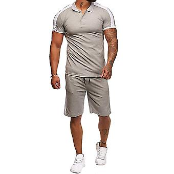 Allthemen Men's Thin Colorblocked Short Sleeve Casual Two-Piece Suit