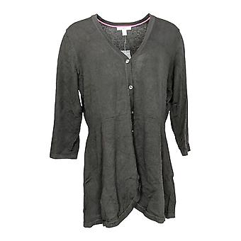 Isaac Mizrahi Live! Donne's Top Curved Hem Button Anteriore nero A354771