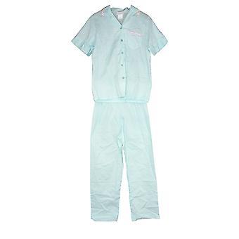National Women's Pajama Set Woven Cotton With Floral Pocket Trim Blue