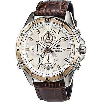Casio Chronograph Armbanduhr EFR-547L-7AVUEF (L x B x H) 54 x 47,2 x 13,9 mm Gold, Braunes Gehäusematerial=EdelstahlMaterial (Uhrenarmband)=Leder