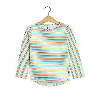 Esprit Girls' Long Sleeve Top With Colourful Stripes Off White
