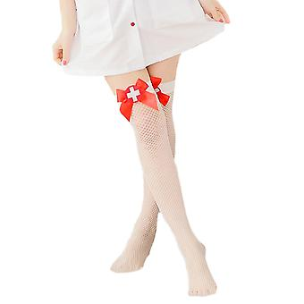 Womens Fishnet Contrast Nurse Badge Costume Thigh High Stockings