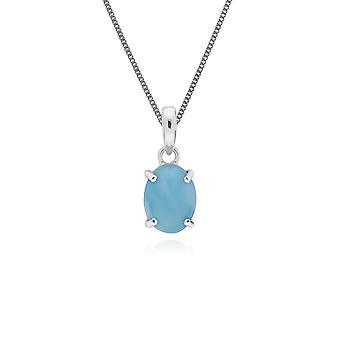klassisk oval larimar anheng halskjede i 925 sterling sølv 270P023803925