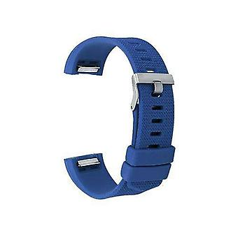Watch strap for fitbit charge dark blue silicone rubber sizes small and large