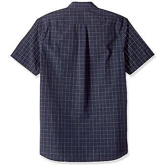 Goodthreads Men's Standard-Fit Short-sleeve Plaid Poplin Camicia, -navy windowp...