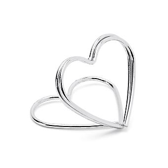 10 Silver Heart Wedding Place Card Holders