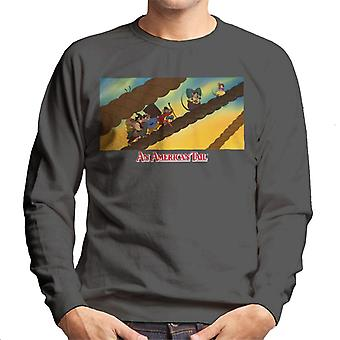 An American Tail Fievel And Family On Rope Men-apos;s Sweatshirt