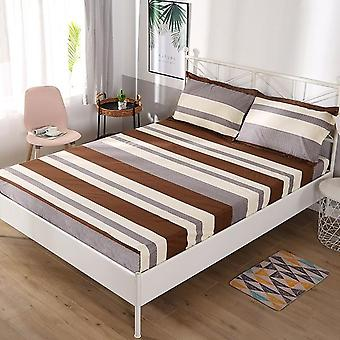Soft Comfortable Bed Mattress Fitted Bed Sheet - Waterproof Printing Non-slip Breathable Linen Bed Protective Cover