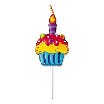 Vela em forma de bolo de aniversário