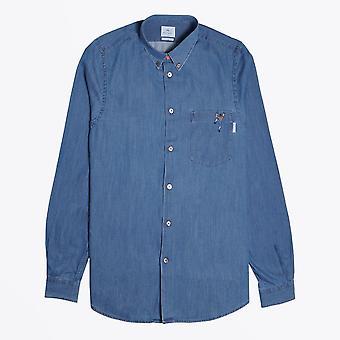 PS Paul Smith  - Denim Shirt With Embroidered 'Climber' - Blue