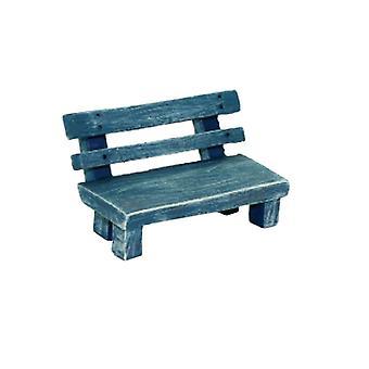 Mini Resin Garden Bench Decoration Blue Grey