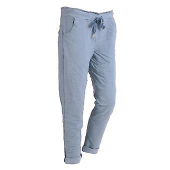 Womens Plain Magic Pants Stretchy Trousers | Denim | One Size (UK 10-16)